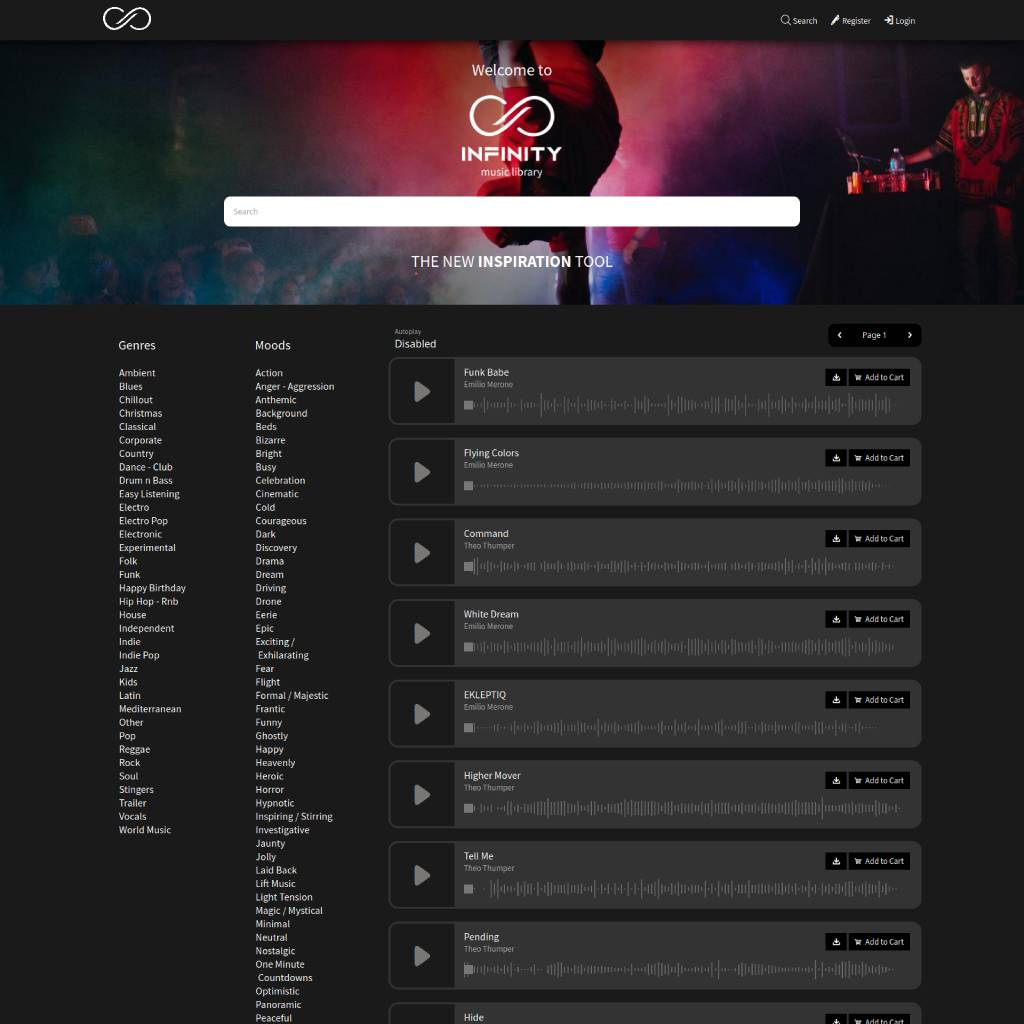 search music infinitymusiclibrary.com